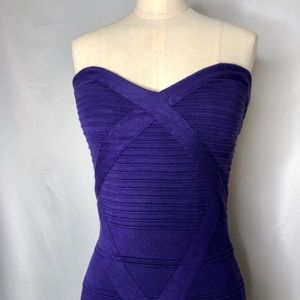Bebe purple strapless body con dress